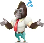 Business Gorilla Cartoon Vector Character - Feeling Confused