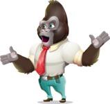 Business Gorilla Cartoon Vector Character - Feeling Lost