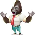 Business Gorilla Cartoon Vector Character - Feeling Shocked
