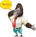 Business Gorilla Cartoon Vector Character - Feeling sorry