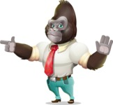 Business Gorilla Cartoon Vector Character - Finger pointing with angry face