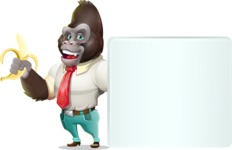 Business Gorilla Cartoon Vector Character - Holding a Blank sign and Pointing