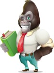 Business Gorilla Cartoon Vector Character - Holding a book