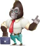 Business Gorilla Cartoon Vector Character - Holding a briefcase