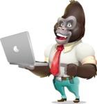 Business Gorilla Cartoon Vector Character - Holding a laptop