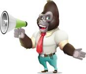 Business Gorilla Cartoon Vector Character - Holding a Loudspeaker