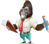 Business Gorilla Cartoon Vector Character - Holding a notepad with pencil