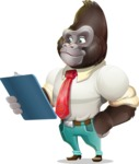 Business Gorilla Cartoon Vector Character - Holding a notepad