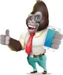 Business Gorilla Cartoon Vector Character - Holding a smartphone