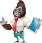 Business Gorilla Cartoon Vector Character - Holding an iPad