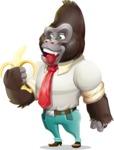 Business Gorilla Cartoon Vector Character - Holding banana