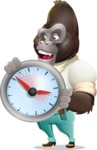 Business Gorilla Cartoon Vector Character - Holding clock