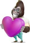 Business Gorilla Cartoon Vector Character - Holding heart