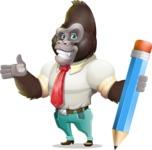 Business Gorilla Cartoon Vector Character - Holding Pencil