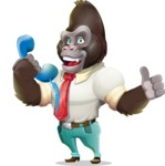Business Gorilla Cartoon Vector Character - Holding phone with thumbs up