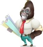 Business Gorilla Cartoon Vector Character - Holding Plans