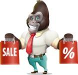 Business Gorilla Cartoon Vector Character - Holding shopping bags