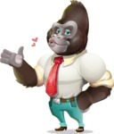 Business Gorilla Cartoon Vector Character - Making a Duckface for a selfie