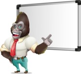 Business Gorilla Cartoon Vector Character - Making a Presentation on a Blank white board