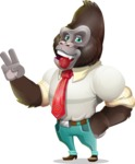 Business Gorilla Cartoon Vector Character - Making Funny face