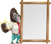 Business Gorilla Cartoon Vector Character - Making peace sign with Big Presentation board