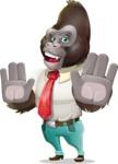 Business Gorilla Cartoon Vector Character - Making stop gesture with both hands