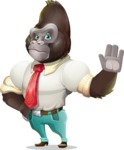 Business Gorilla Cartoon Vector Character - Making stop with a hand