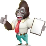Business Gorilla Cartoon Vector Character - Making thumbs up with notepad