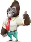 Business Gorilla Cartoon Vector Character - Making Thumbs Up