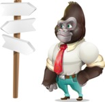 Business Gorilla Cartoon Vector Character - on a Crossroad with sign pointing in all directions