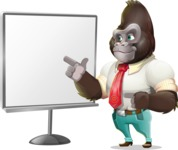 Business Gorilla Cartoon Vector Character - Pointing on a Blank whiteboard