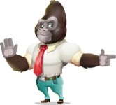 Business Gorilla Cartoon Vector Character - Pointing with a fnger