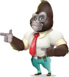 Business Gorilla Cartoon Vector Character - Pointing with both hands