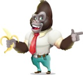 Business Gorilla Cartoon Vector Character - Pointing with left hand