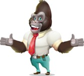 Business Gorilla Cartoon Vector Character - Presenting with both hands