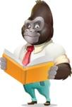 Business Gorilla Cartoon Vector Character - Reading a book