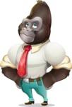 Business Gorilla Cartoon Vector Character - Rolling Eyes