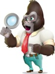 Business Gorilla Cartoon Vector Character - Searching with magnifying glass