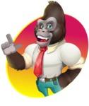 Business Gorilla Cartoon Vector Character - Shape 1