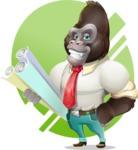 Business Gorilla Cartoon Vector Character - Shape 10