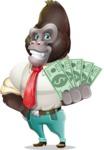 Business Gorilla Cartoon Vector Character - Show me the Money