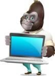 Business Gorilla Cartoon Vector Character - Showing a laptop