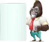 Business Gorilla Cartoon Vector Character - Showing Big Blank banner