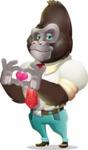 Business Gorilla Cartoon Vector Character - Showing Love