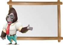 Business Gorilla Cartoon Vector Character - Showing on Big whiteboard