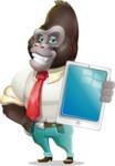 Business Gorilla Cartoon Vector Character - Showing tablet