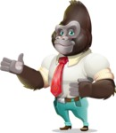Business Gorilla Cartoon Vector Character - Showing with both hands