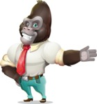 Business Gorilla Cartoon Vector Character - Showing with left hand