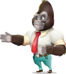 Business Gorilla Cartoon Vector Character - Showing with right hand