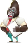 Business Gorilla Cartoon Vector Character - Smiling and holding notepad